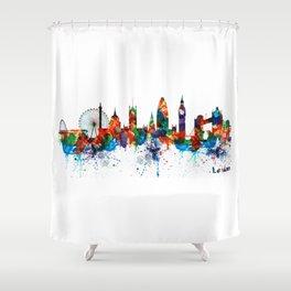 London Watercolor Skyline Silhouette Shower Curtain
