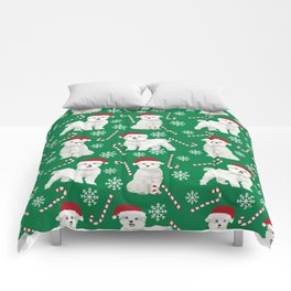Maltese christmas festive dog breed holiday candy canes snowflakes pattern pet friendly dog art Comforters