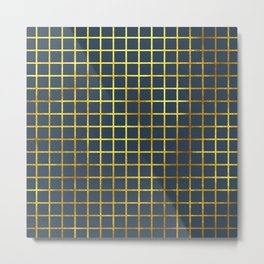 Blue & Gold Grid Metal Print