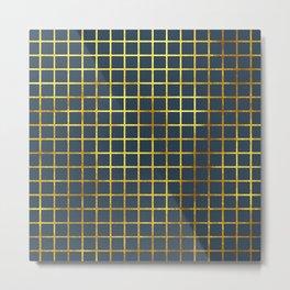 Blue & Gold Grid Metal Print