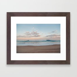 Pink Skies and Teal Waves Framed Art Print