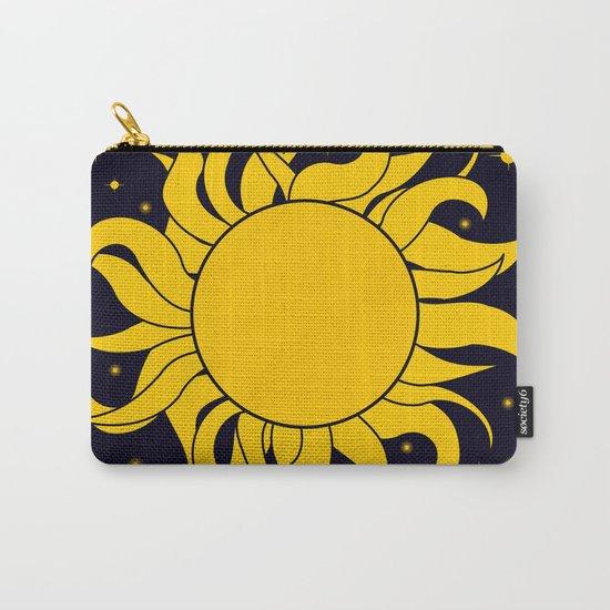 Bold Yellow Sun & Stars On Dark Blue Carry-All Pouch