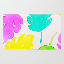 Colorful Monstera Watercolor Leaves Rug