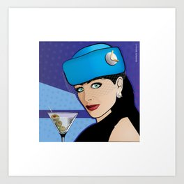 Beautiful Pop Art Girl with Martini and Stewardess Hat Art Print