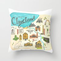cleveland Throw Pillows featuring Hipster Cleveland by Emily Jankov