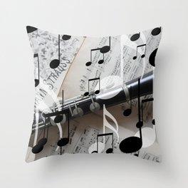 music notes white black clarinet Throw Pillow