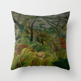 Henri Rousseau - Tiger in a Tropical Storm - Surprised! Throw Pillow