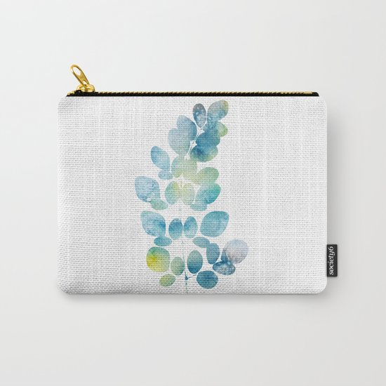 Blue Watercolor Leaves Carry-All Pouch