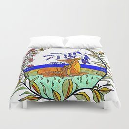 Doe And Fawn In Wildflowers Duvet Cover