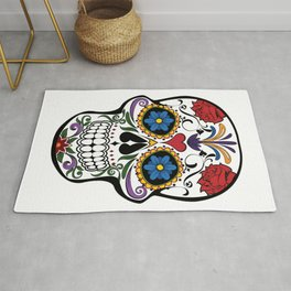Red Roses and Heart Cranium Tattoo Art Rug