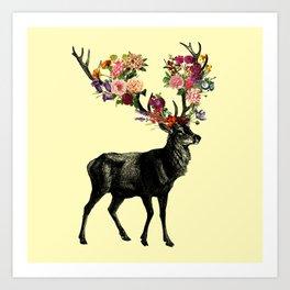 Spring Itself Deer Floral (Cream) Kunstdrucke