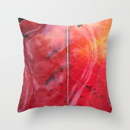 Red Leaf in the Rain Throw Pillow