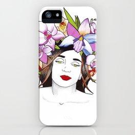 Woman in flowers II iPhone Case