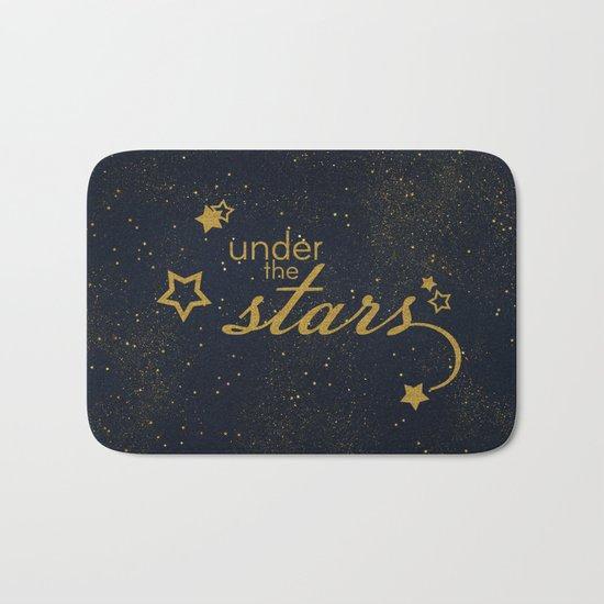 Under the stars- sparkling gold glitter night typography on #Society6 Bath Mat