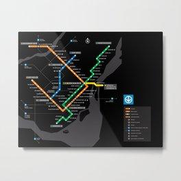 STM Metro Subway Map Carte du Metro Montreal Black HD Metal Print