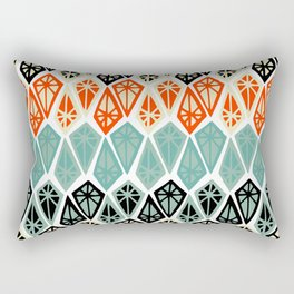 Abstract geometric hand painted red black teal diamond shapes Rectangular Pillow