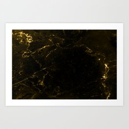 Black Gold Marble Art Print