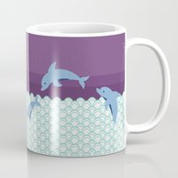 dolphins Mugs featuring Dolphins by Eunice Wong