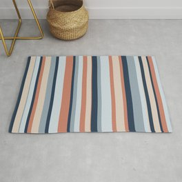 Stripe Pattern in Blue, Coral, and Putty Rug