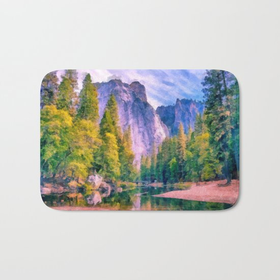 Mountain landscape with forest and river Bath Mat