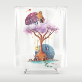 Penguins and Their Dream Tree with Castle Above and Igloo Below Shower Curtain