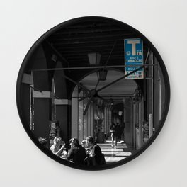 Bologna Tabacchi Blue Street Photography Black and White Wall Clock