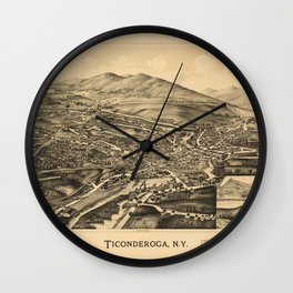 Aerial View of Ticonderoga, New York (1891) Wall Clock