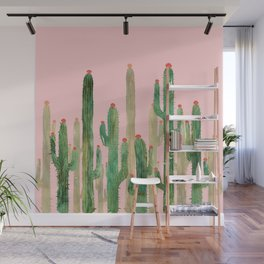 Cactus Four on Pink Wall Mural
