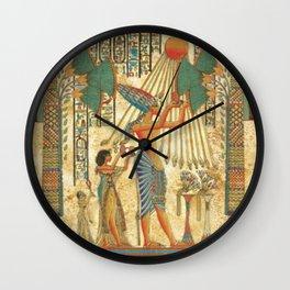 egyptian man sun god ra amun Wall Clock
