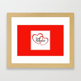 Just Married Red Hearts Framed Art Print