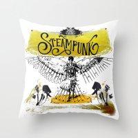 steampunk Throw Pillows featuring SteamPunk by Genco Demirer