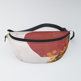 Beach Day 4 modern brown, pink and red painting Fanny Pack