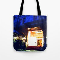 outdoor Tote Bags featuring In Through the Outdoor~ New York City by 13th Moon Social Club