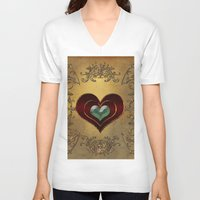 hearts V-neck T-shirts featuring Hearts by nicky2342