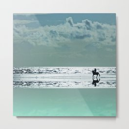 Riding Silver Sands Metal Print