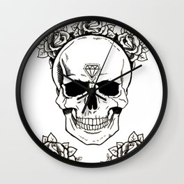 Skulls and Roses Wall Clock