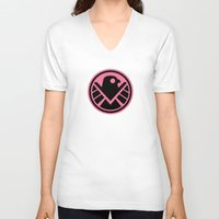 agents of shield V-neck T-shirts featuring Pink SHIELD by Arne AKA Ratscape