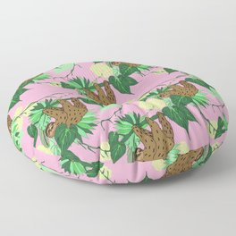 Sloth - Green on Pink Floor Pillow