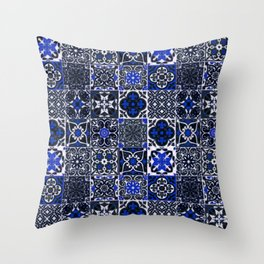 Blue Wonderful Traditional Moroccan Vintage Tiles Artwork (N26). Throw Pillow