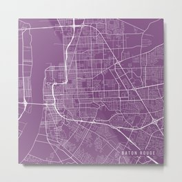 Baton Rouge Map, USA - Purple Metal Print