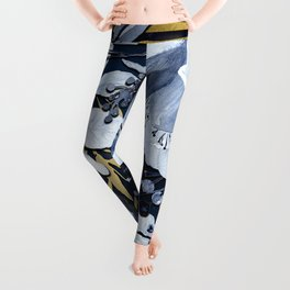 Navy Blue & Gold Watercolor Floral Leggings