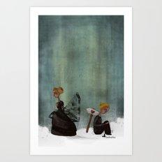 frau schwarz Art Print