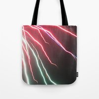 lightning Tote Bags featuring Lightning by Popko Studio