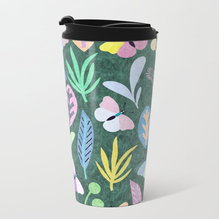 Flower and Butterfly IV Metal Travel Mug