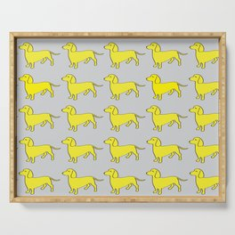 Doxie Love - Grey and Yellow Serving Tray