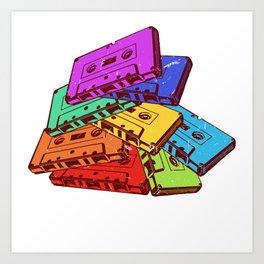 Colorful Old School Tape T-shirt Design 80's Vintage Retro Audiotape Tower Boombox Music Rave Art Print