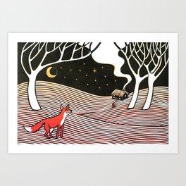 Fox in the night Art Print