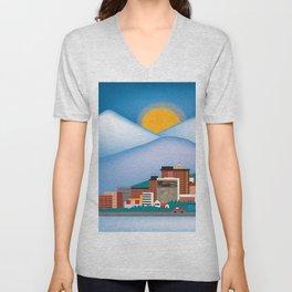 Anchorage, Alaska - Skyline Illustration by Loose Petals Unisex V-Neck