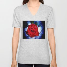 Rose And Piano Love Song By Annie Zeno  Unisex V-Neck