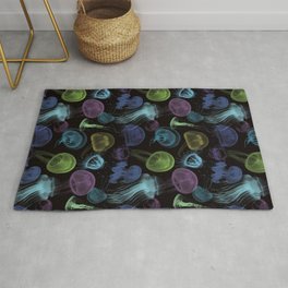 Electric Jellyfish in Black Rug